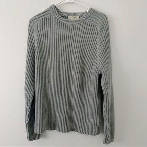 J. Crew Ribbed Crew Neck Grey Sweater XL